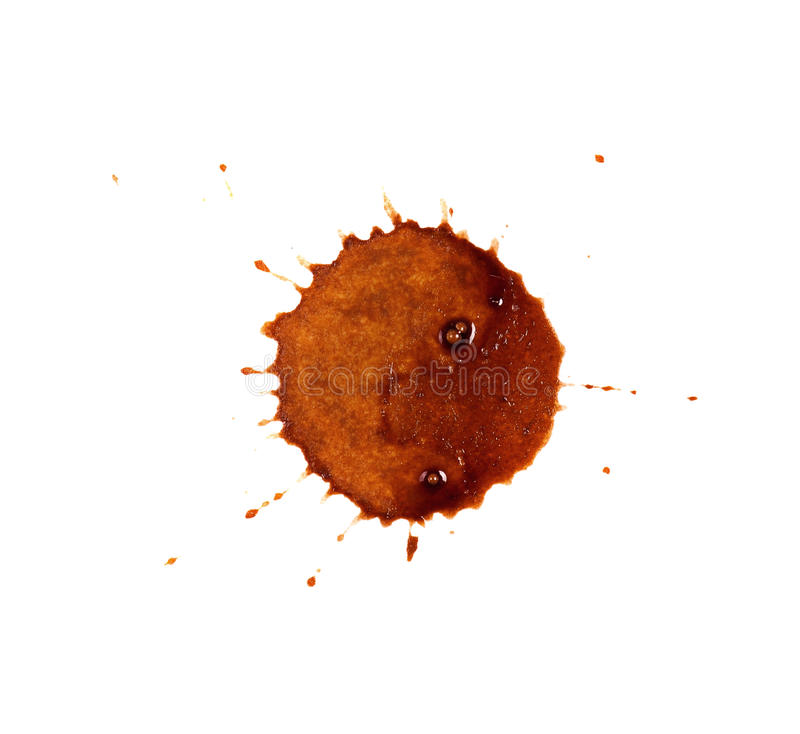 Coffee stains. Close up of coffee cup stains isolated on white background stock photography