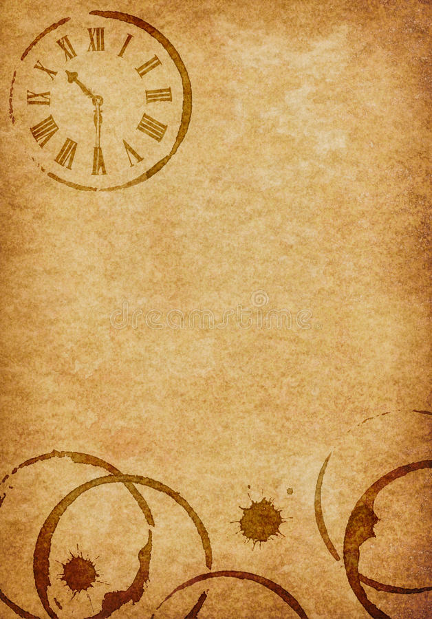 Coffee Stains Amp Clock Vellum Parchment Background Stock