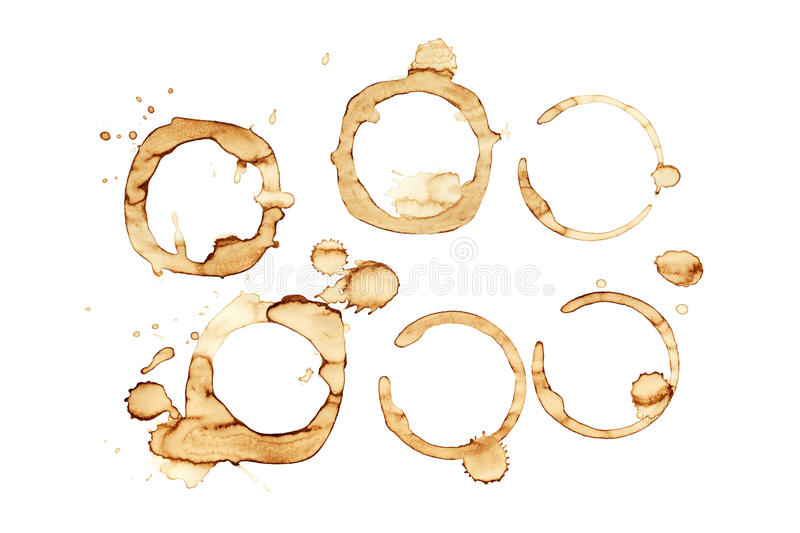 Coffee Stains. Coffee cup stains on white background stock photography