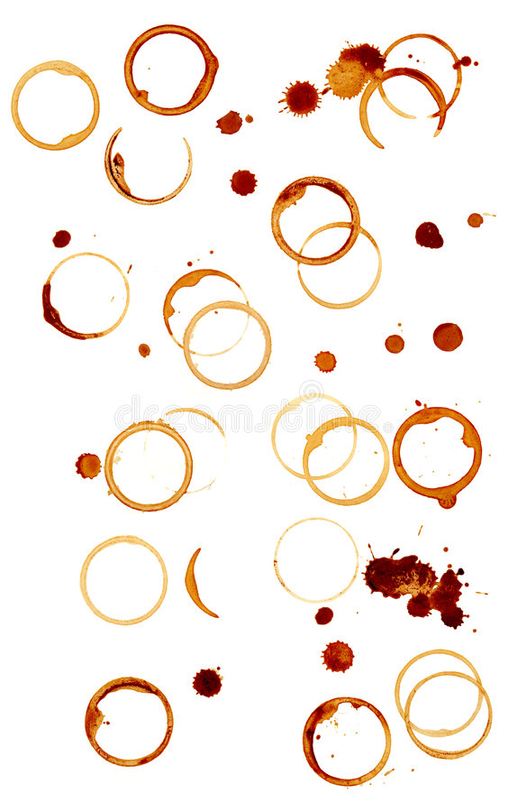 Coffee stains group stock image