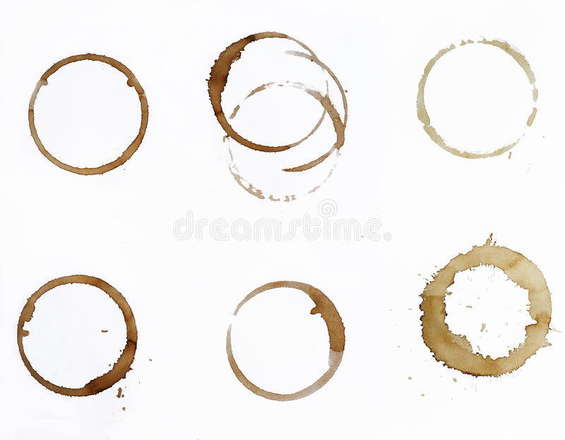 Coffee stains. Isolated on white background royalty free stock photography