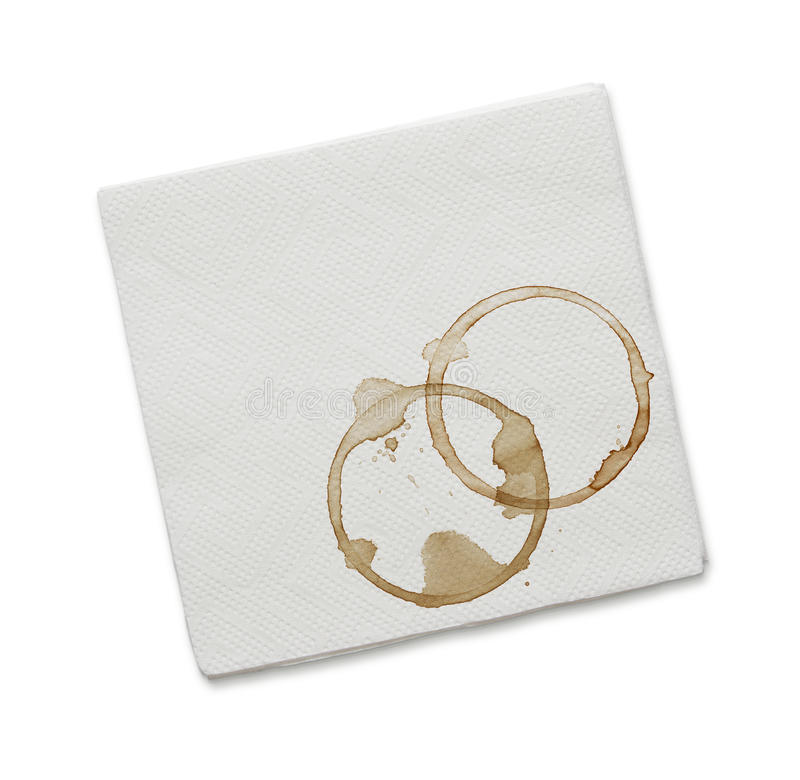 Coffee stains on the napkin stock photos