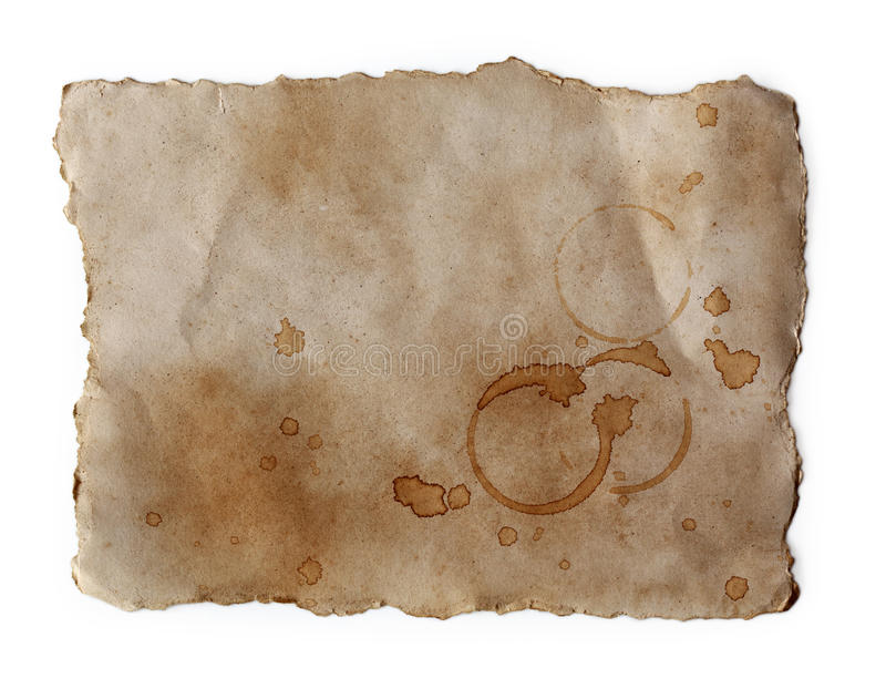 Coffee stains on old paper. Close up stock images