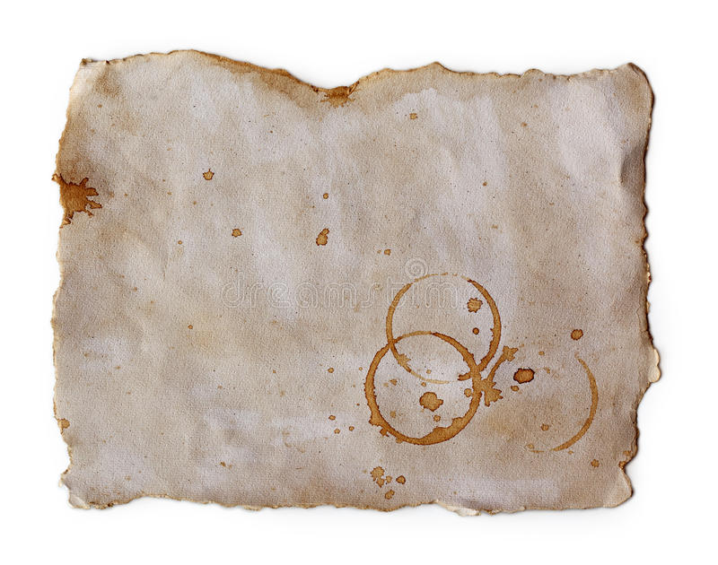 Coffee stains on old paper. Close up stock photography