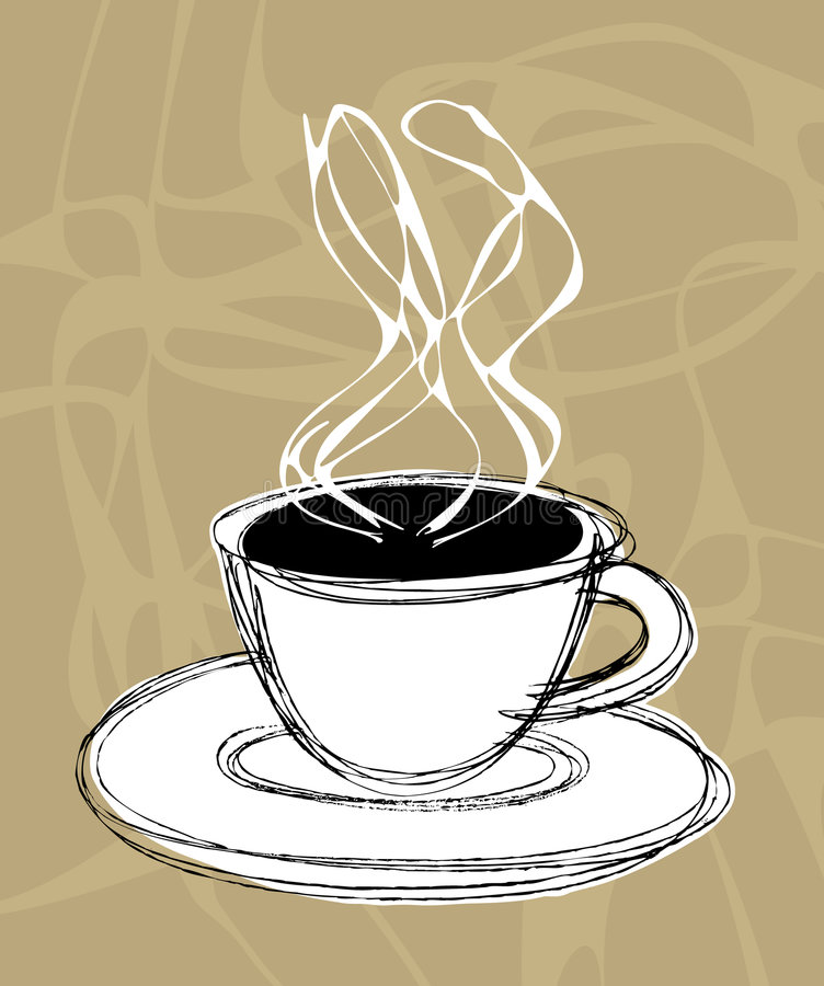 Coffee and steam royalty free illustration