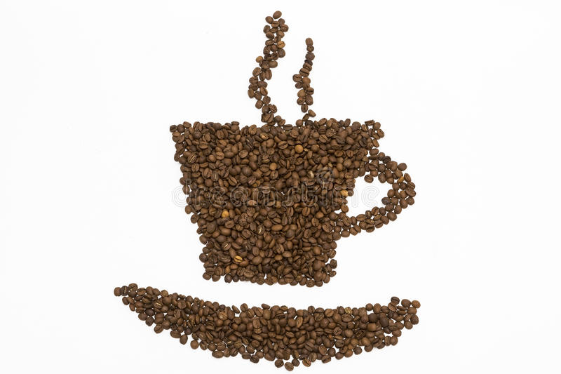 Coffee steam made from beans, grain. on white backgroun. D stock image
