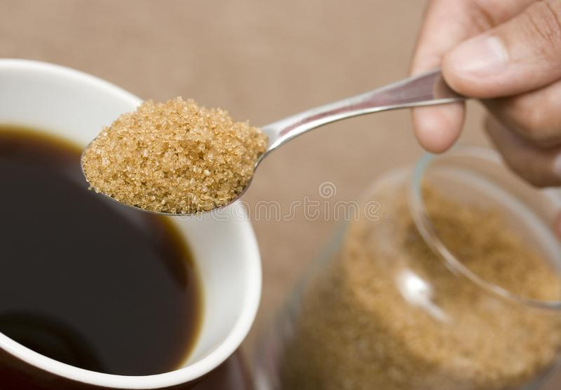 Coffee with sugar royalty free stock images