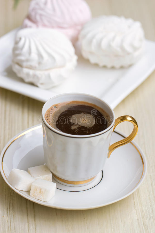 Coffee  With Sweet Marshmallow Stock Photo