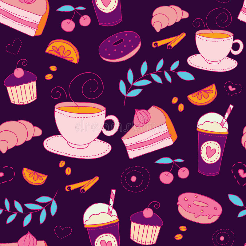 Coffee and sweets seamless vector pattern. Colorful background with cups, desserts, berries, fruits and plants elements vector illustration