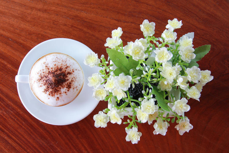 Coffee on table stock photos