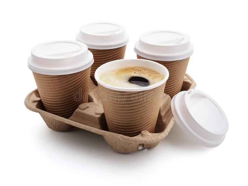 Coffee take out disposable cups in holder stock photography