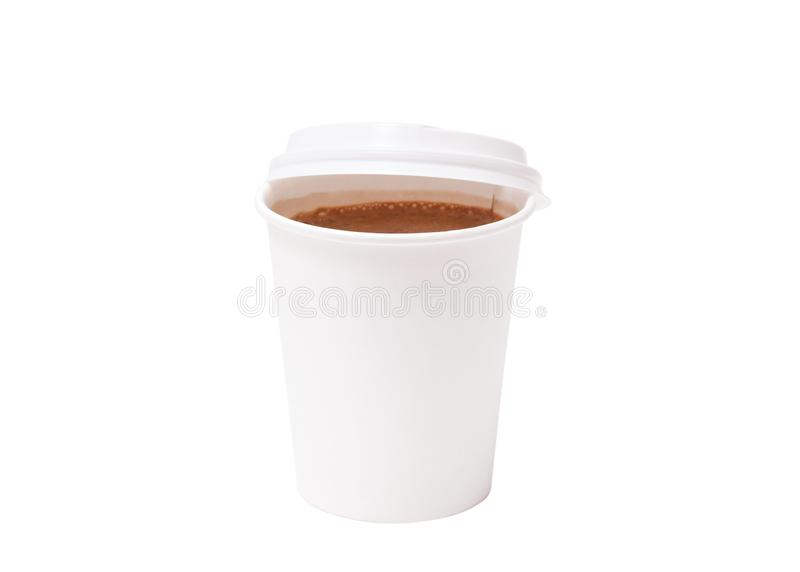 Coffee in takeaway cup isolated on white background. Coffee in takeaway paper cup on white background. Space for design stock photos