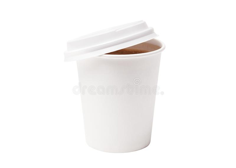 Coffee in takeaway cup isolated on white background. Coffee in takeaway paper cup on white background. Space for design royalty free stock photography