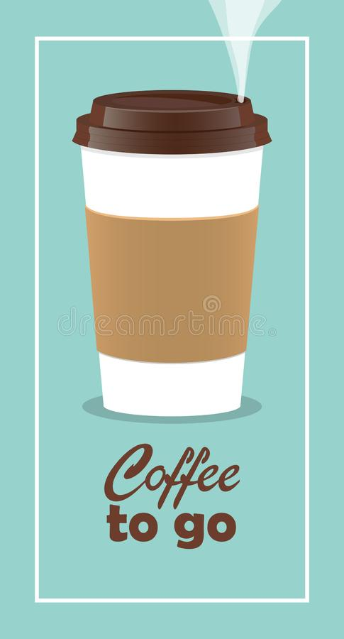 Coffee takeaway cup, realistic. Coffee to go lettering. Close up take-out coffee with brown cap and cup holder. Vector stock illustration