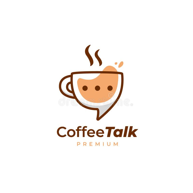 Free Coffee Talk Logo, Coffee Cup Mug Discussion Logo Icon In Fun Style Royalty Free Stock Photo - 216464595
