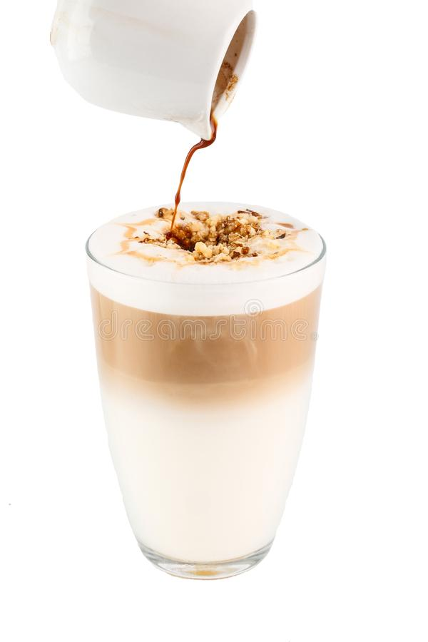 Coffee in a tall glass stock image
