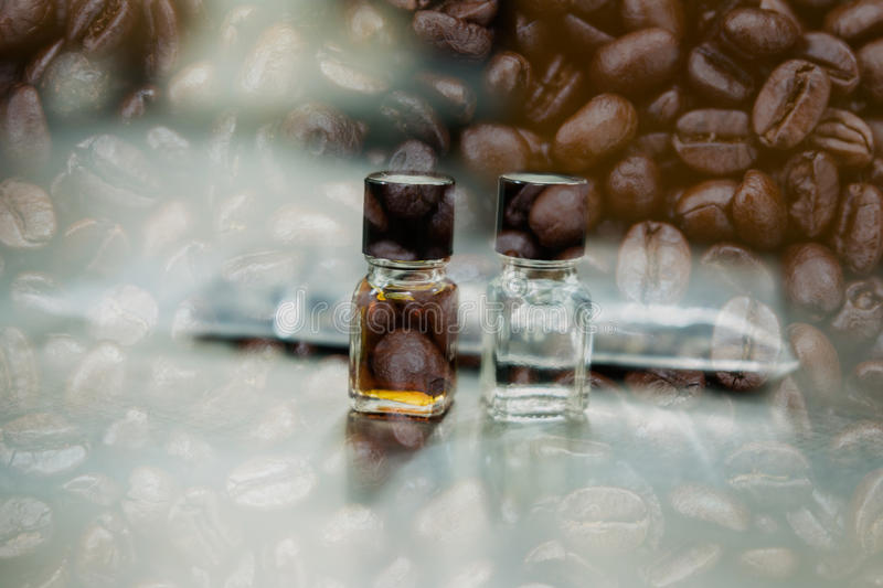 Coffee tasting with reference flavor. aroma perception in coffee. Coffee tasting with reference flavor. art of aroma perception in coffee. bottle of fragrance stock photo