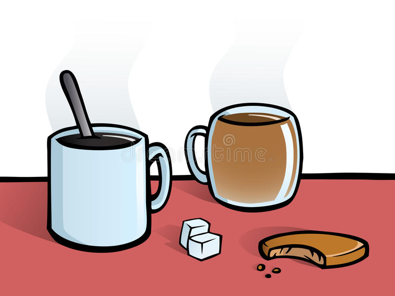 Coffee and tea. A hot cup of coffee and a cup of tea with a spoon, sugar cubes and a cookie. All elements are on separate layers for easy editing stock illustration