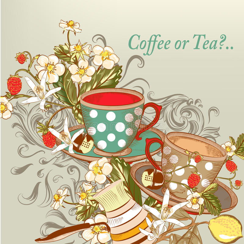 Coffee or tea background with hand drawn cups in vintage style vector illustration