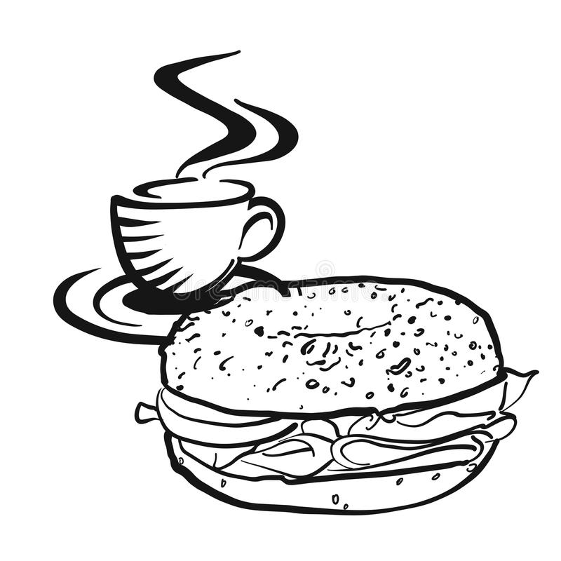 Coffee or tea with Bagel logo vector illustration