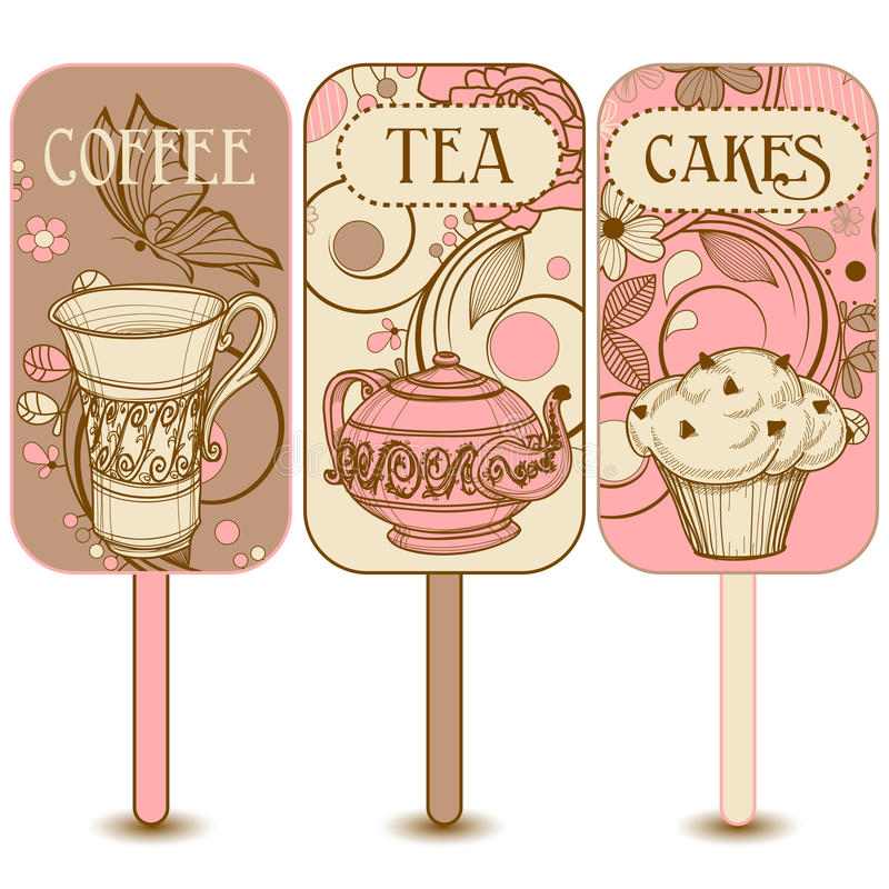 Coffee, tea and cakes labels royalty free illustration