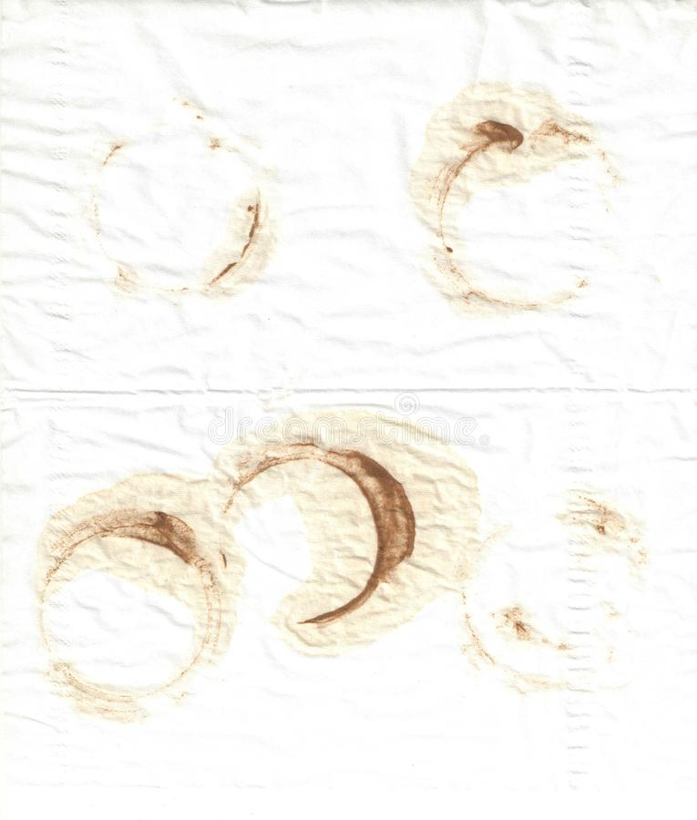 Coffee and tea stains collage on white royalty free stock photos