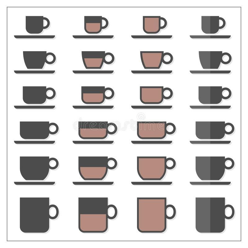 Coffee tea cup mug empty half full graphic icon set on white stock image