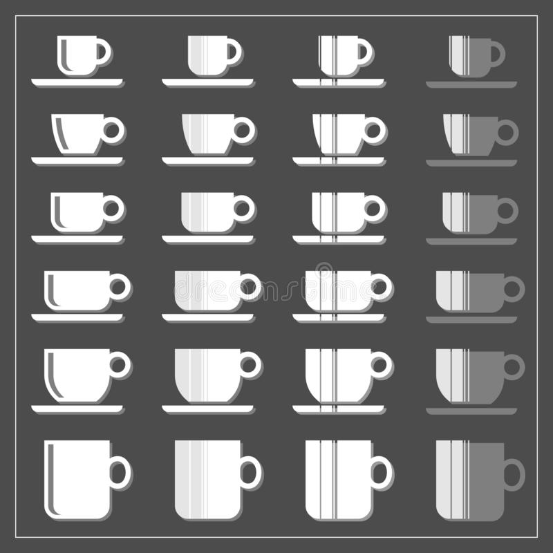 Coffee tea cup mug graphic striped icon set on dark stock photography