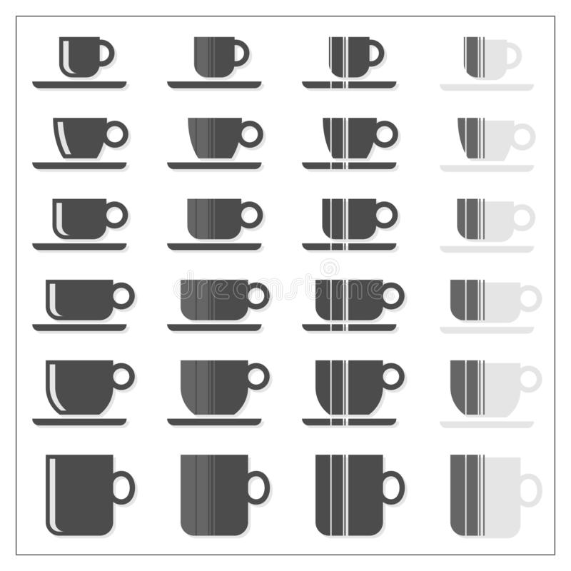 Coffee tea cup mug graphic striped icon set on white royalty free stock photography