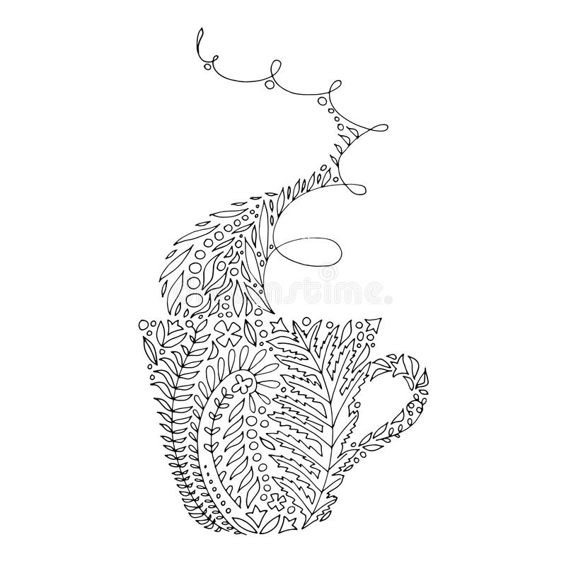Download Coffee Tea Cup Tangled Illustration For Adult Coloring Books Stock Vector
