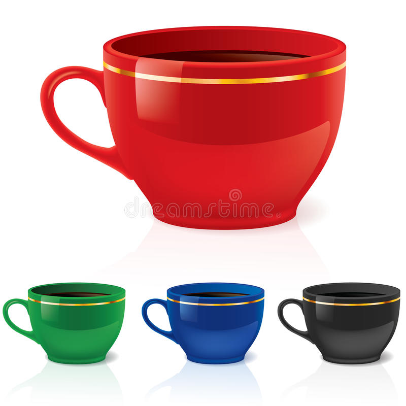 Download Coffee or tea cups stock vector. Image of black, dark - 14850837