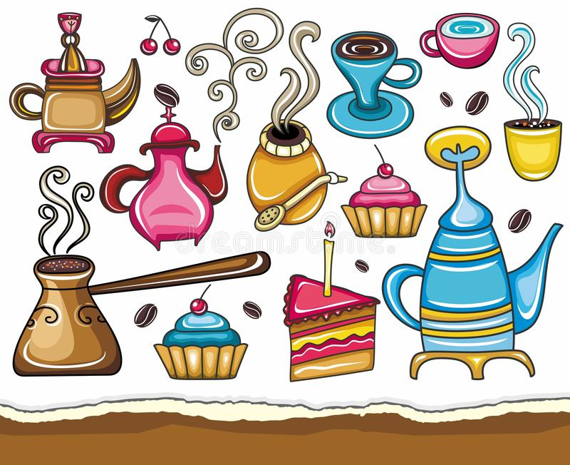 Download Coffee, And Tea Design Elements Stock Vector - Illustration: 15354904