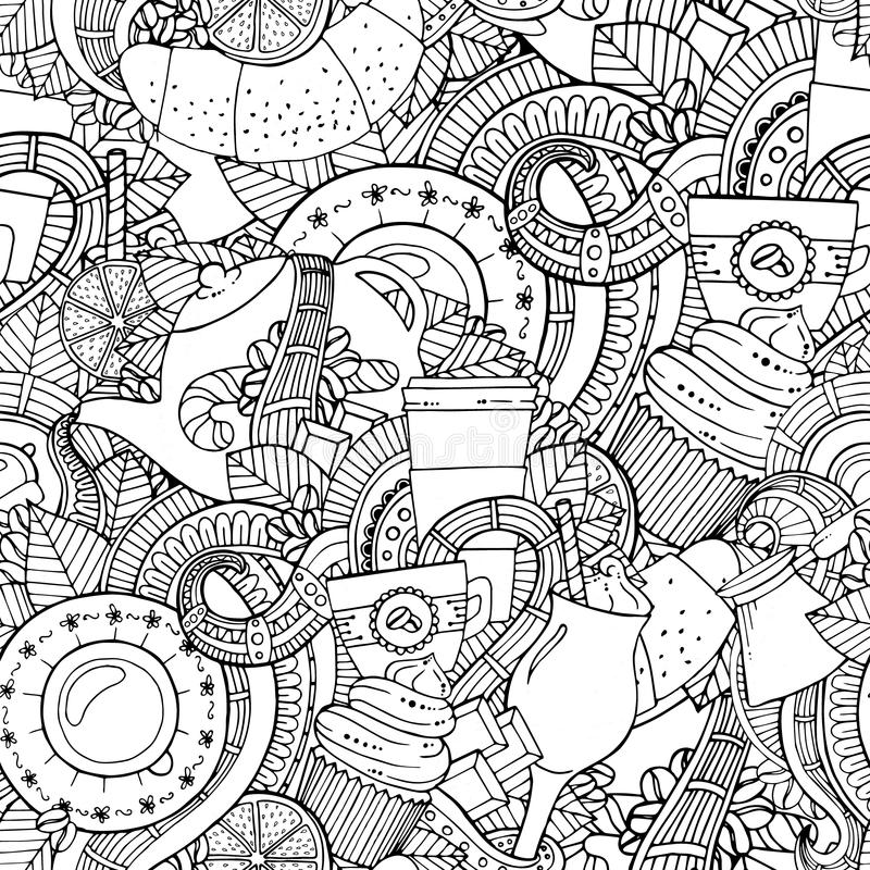 Coffee and tea doodle background in vector with paisley. Seamless zentangle pattern can be used for menu, wallpaper, pattern fills, coloring books and pages vector illustration