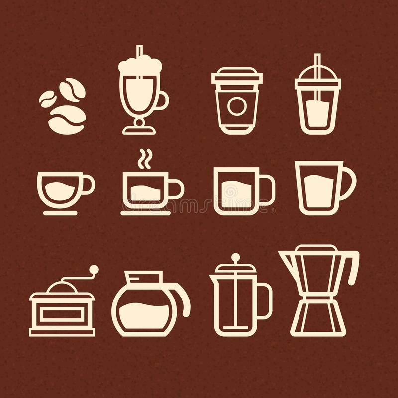 Coffee, Tea and Drinks icons set royalty free illustration