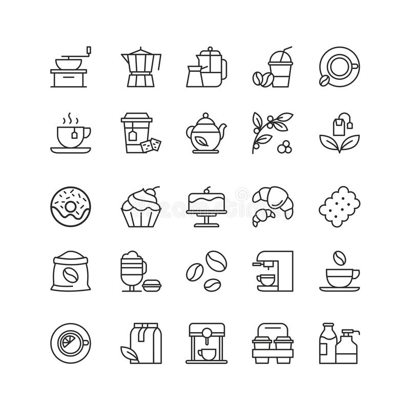Coffee and tea drinks linear icons set royalty free stock photography
