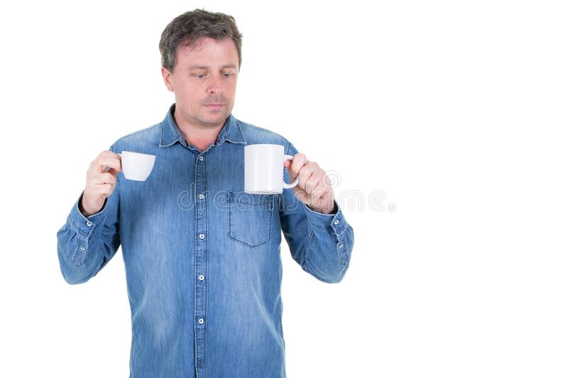 Coffee or tea in healthy man food concept stock photo