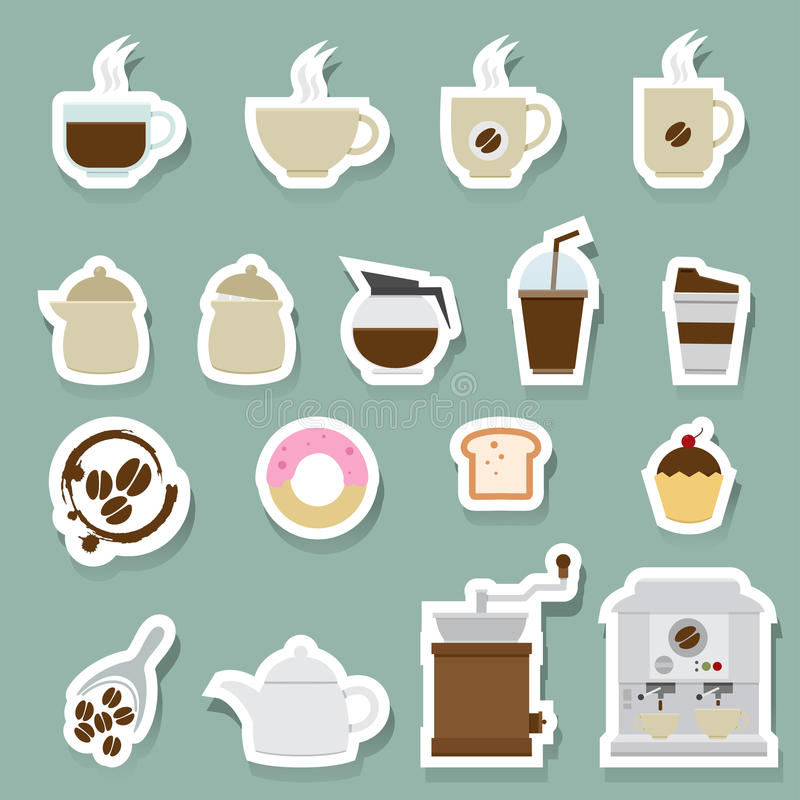 Coffee and tea icons set stock illustration