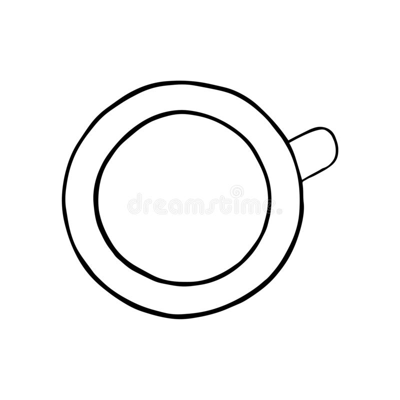 Coffee or thee cup, top view. Hand drawing sketch. Black outline on white background. Vector illustration. EPS10. Coffee or thee cup, top view. Hand drawing vector illustration