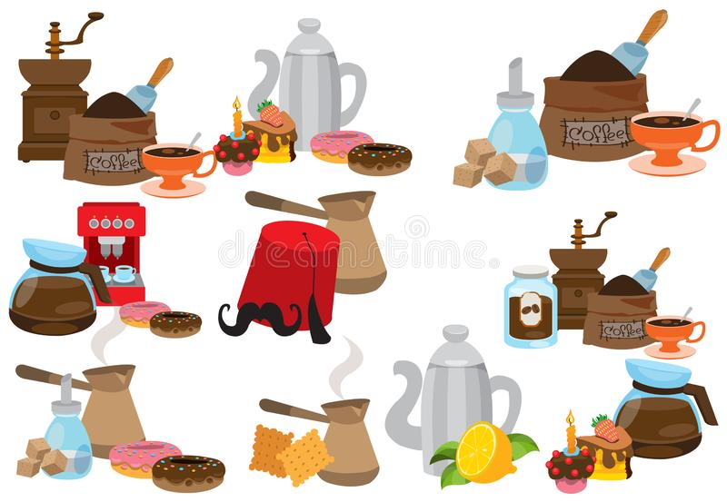 Coffee theme set of icons. Drinks and food stock photo