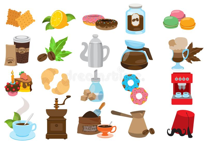 Coffee theme set of icons. Drinks and food royalty free stock image