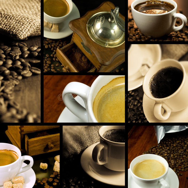 Coffee themed collage stock image