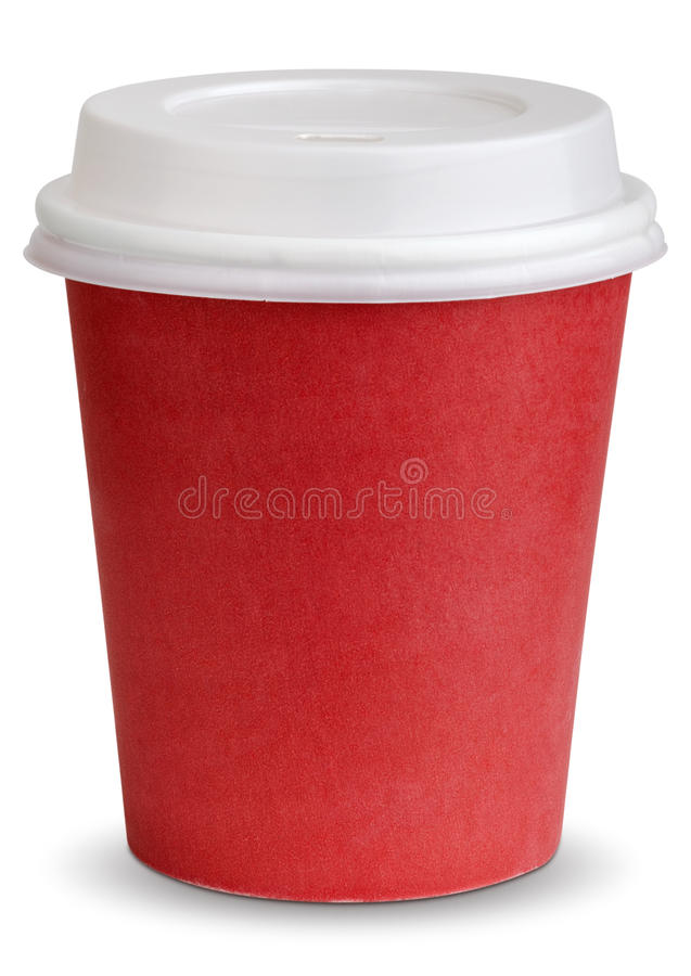 Coffee in thermo cup. Take-out coffee in thermo cup. on awhite. clipping patch stock photography