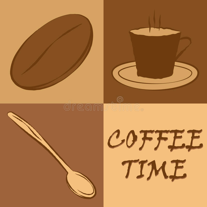 Coffee Time. Isolated illustration eps 10 Logo of the four elements coffee time royalty free illustration