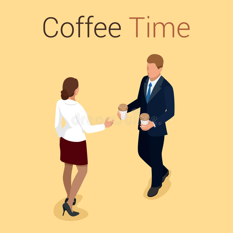 Coffee time or coffee break. Group People Chatting Interaction Socializing Concept. Flat 3d vector isometric illustration stock illustration