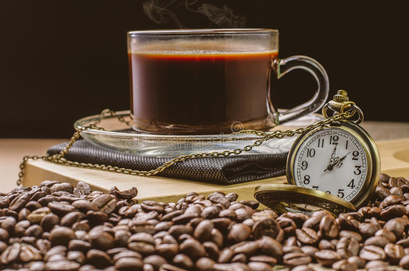 Download Coffee Time Concept With Vintage Pocket Watch On Coffee Beans Ba Stock Photo - Image: 83700260