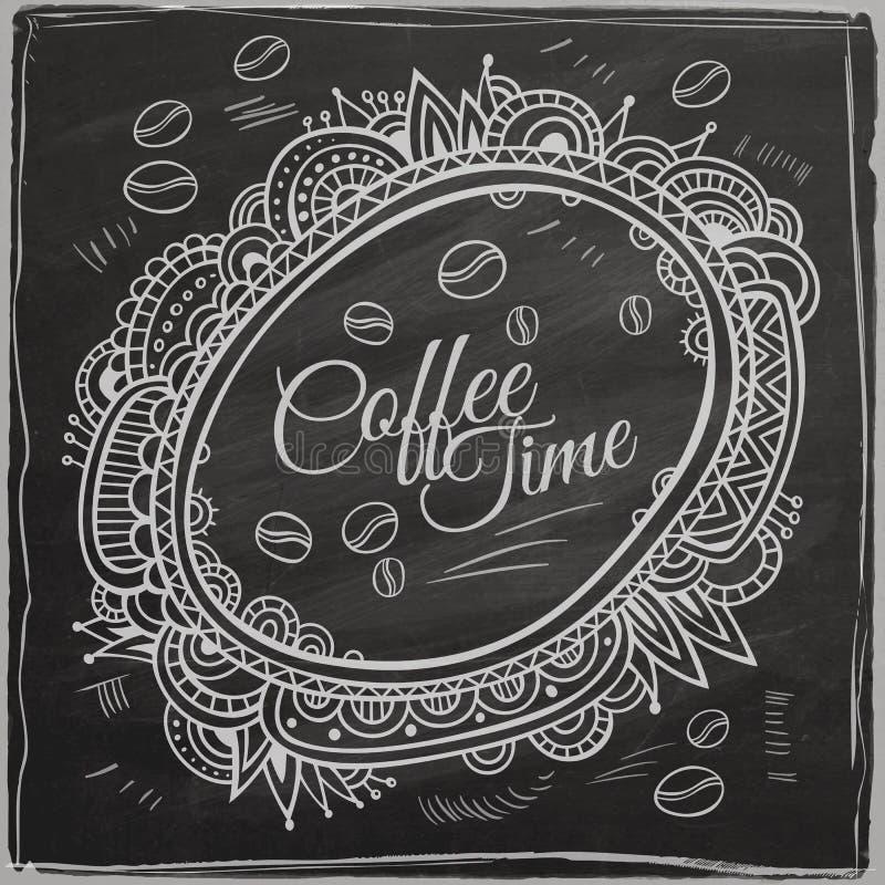 Coffee time decorative border. Background stock illustration