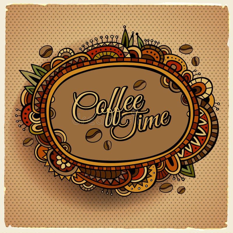 Coffee time decorative border label design royalty free illustration
