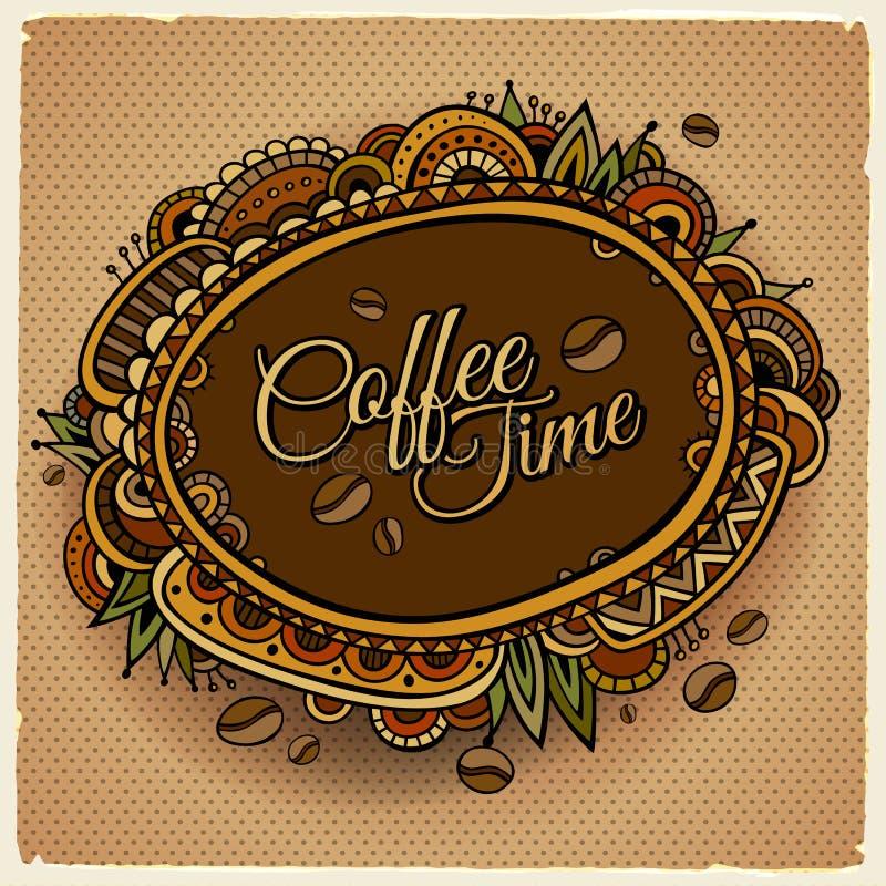 Coffee time decorative border label design. royalty free illustration
