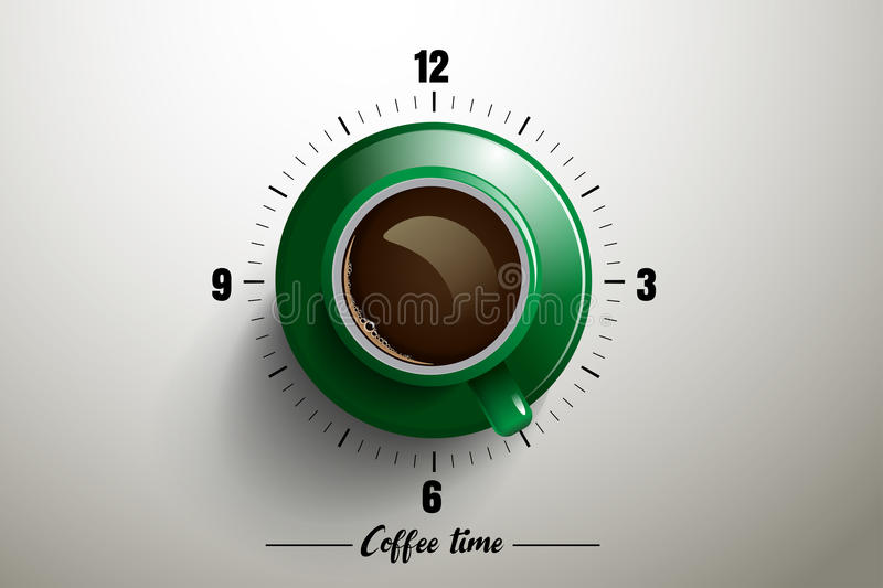 Coffee time design with clock concept stock illustration