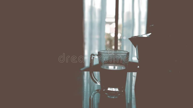 Coffee time Espresso. Hot coffee with blurry background-Vintage effect style pictures stock images